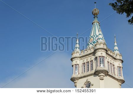 Detail of palace in Center City of Sintra in Portugal