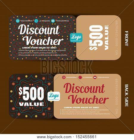 Discount voucher vector illustration in autumn dark brown colors background.