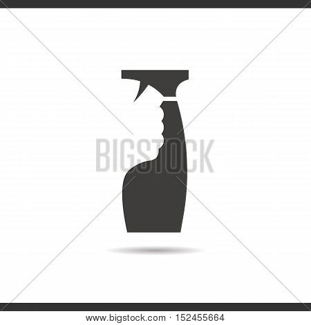 Glass cleaning spray icon. Drop shadow silhouette symbol. Negative space. Vector isolated illustration
