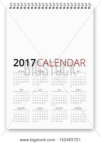 Simple calendar 2017 template. Week starts from sunday, holiday saturday and sunday and USA federal holidays. Vector realistic spiral notepad notebook