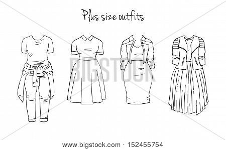 Plus size outfits. Hand drawn set isolated on white.