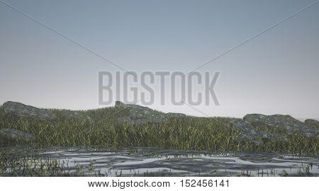3d illustration of the grassy river bank