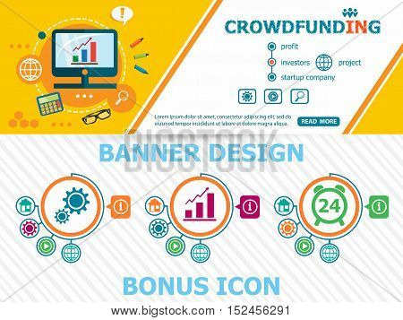 Crowdfunding Design Concepts And Abstract Cover Header Background