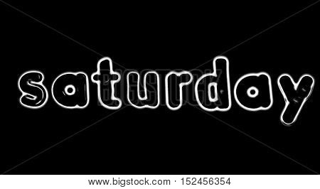 Plastic letters with the word Saturday converted to black and white illustration