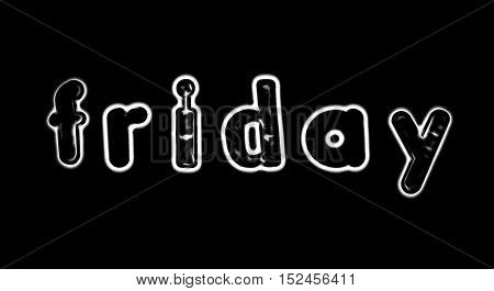 Plastic letters with the word Friday converted to black and white illustration