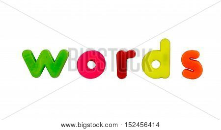 Plastic multicoloured plastic letters with the word Words