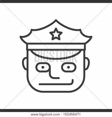 Police officer linear icon. Thin line illustration. Vector isolated outline drawing