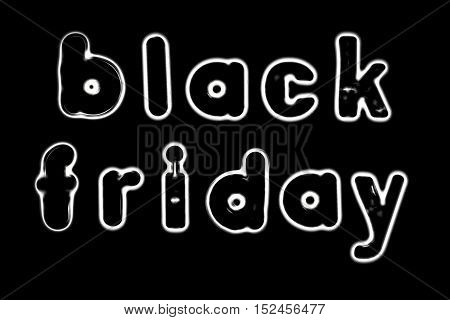 Plastic letters with the words Black Friday converted to black and white illustration