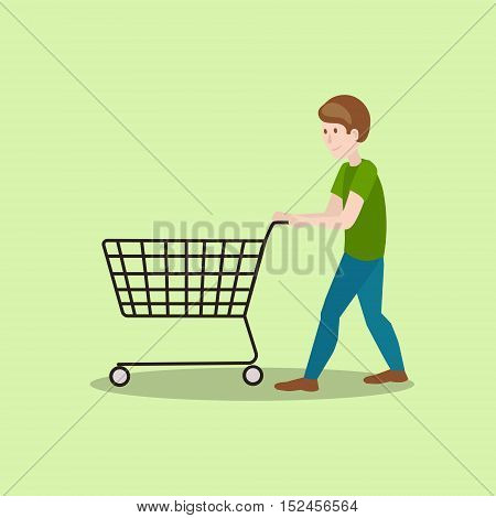 Man with shop cart. Hand drawn colorful cartoon vector illustration