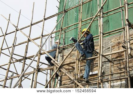 Bamboo scaffolding is a type of scaffolding made from bamboo and widely used in construction work for centuries