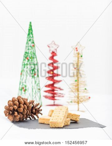 Traditional Scottish shortbread fingers in a christmas setting.