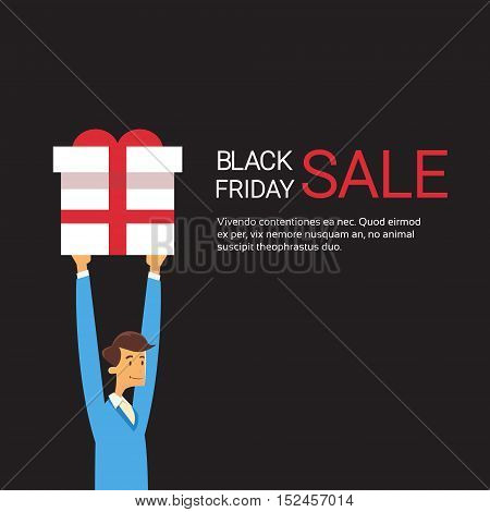 Business Man Hold Present Box Holiday Sale Black Friday Shopping Flat Vector Illustration