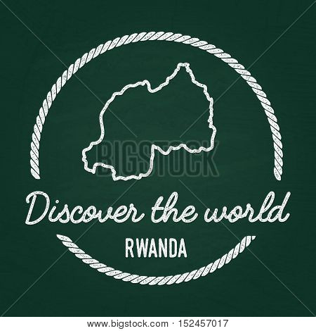 White Chalk Texture Hipster Insignia With Republic Of Rwanda Map On A Green Blackboard. Grunge Rubbe