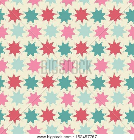 Seamless background pattern with repeating pastel stars ornament isolated on the light background. Vector eps illustration