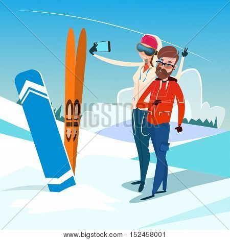 Couple Man And Woman With Ski Snowboard Take Selfie Photo Winter Activity Sport Vacation Flat Vector Illustration