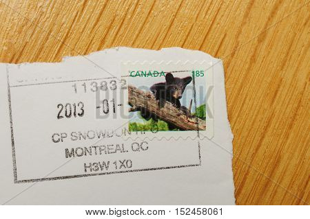 PARIS FRANCE - DEC 30 2013: Franked postage stamp with Canadian bear issued by Canada Post