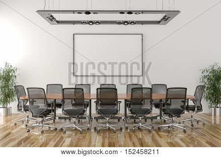 Conference room with blank picture frame in background. 3D illustration