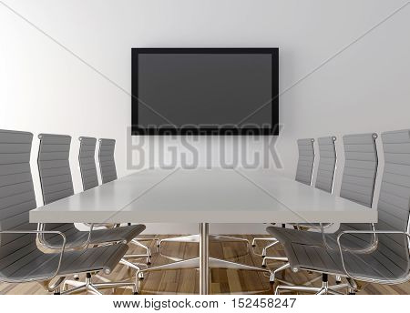 Conference room with blank LCD TV in background. 3D illustration