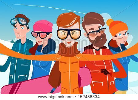 People Group With Ski Snowboard Take Selfie Photo Winter Activity Sport Vacation Flat Vector Illustration