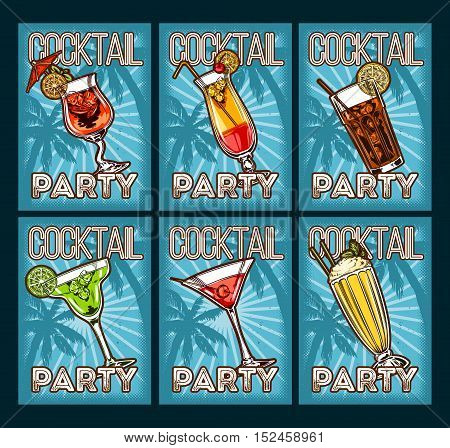 Vector set icons of glasses with cocktail on retro background