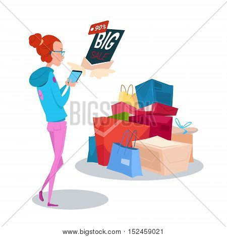 Girl Hold Cell Smart Phone Big Sale Online Shopping Flat Vector Illustration