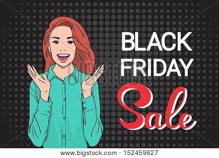 Happy Girl Big Sale Black Friday Shopping Banner Flat Vector Illustration