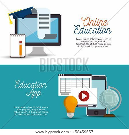online education app banner design vector illustration eps 10