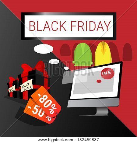 Computer Big Holiday Sale Black Friday Online Shopping Flat Vector Illustration