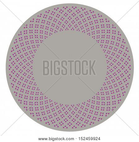 A round border with tiny magenta color flowery pattern. Vector illustration.