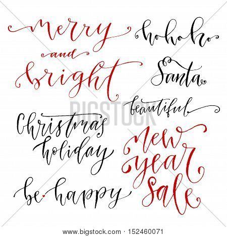 Hand drawn vector lettering. New Year modern calligraphy collection. Christmas card phrase or poster decoration