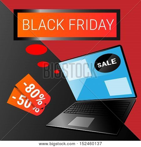 Laptop Computer Big Holiday Sale Black Friday Online Shopping Flat Vector Illustration