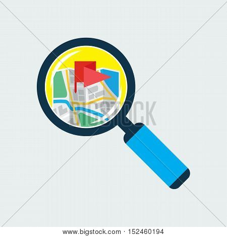Map inside magnifier flat icon. Magnifying glass with handle zooming fragment of a navigational map focused on flag symbol. Colored vector eps8 illustration.