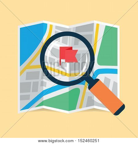 Magnifier over navigational map flat icon. Magnifying glass with handle zooming fragment of a folding paper map focused on flag symbol. Colored vector eps8 illustration.