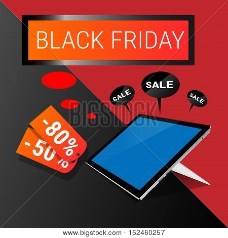 Tablet Computer Big Holiday Sale Black Friday Online Shopping Flat Vector Illustration