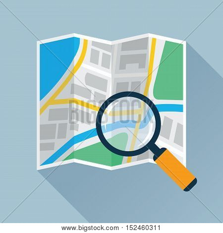 Magnifying glass over navigational map flat icon. Magnifier with handle zooming fragment of a folding paper map. Colored vector eps10 illustration.