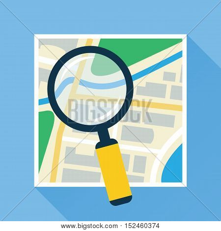 Magnifying glass over navigational map flat icon. Magnifier with handle zooming fragment of a paper map. Colored vector eps10 illustration.