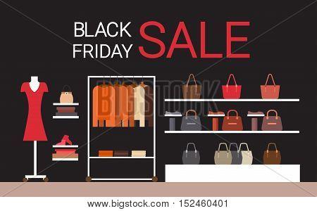 Fashion Shop Interior Big Holiday Sale Black Friday Shopping Flat Vector Illustration
