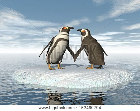 Penguins couple in the pole - 3D render