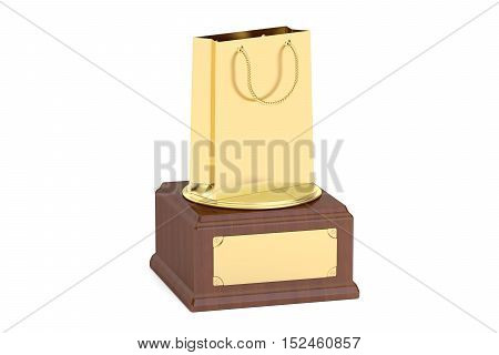 Gold Shopping Award concept 3D rendering isolated on white background