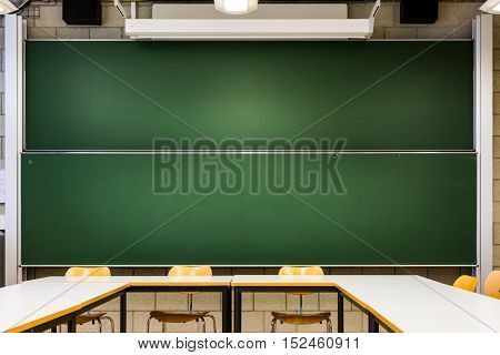 Green Blank Chalkboards Template School University Classroom Double Sliding Interior Architecture Learning Teaching