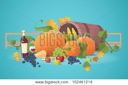 Fresh Vegetables Food Wine Fruit Set Flat Vector Illustration