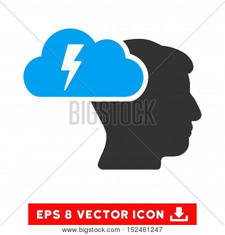 Brainstorming EPS vector pictogram. Illustration style is flat iconic bicolor blue and gray symbol on white background.