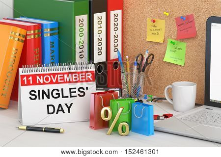 Singles' Day concept 3D rendering on the table