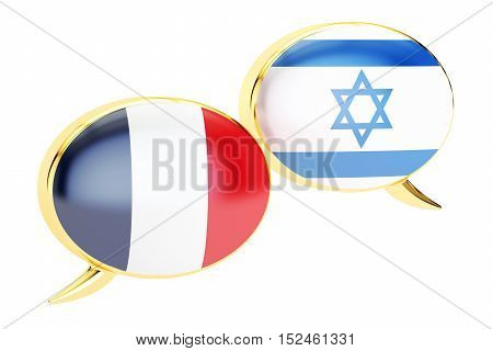 Speech bubbles French-Israeli conversation concept. 3D rendering