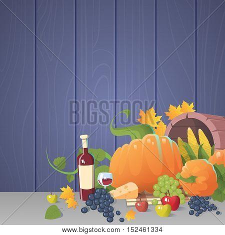 Fresh Vegetables Food Wine Fruit Set Over Wooden Background Flat Vector Illustration
