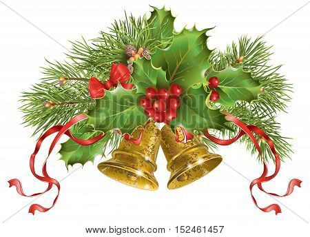 Vector Christmas banner with traditional decoration christmas tree branches and bells. Design element for winter sale party invitation or greeting card.