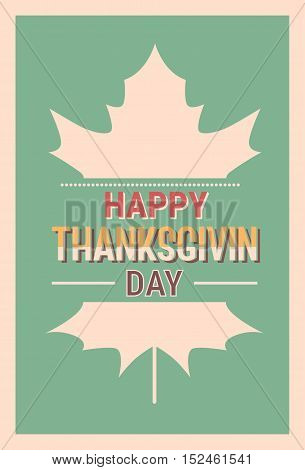 Thanksgiving Day Holiday Banner Greeting Card Flat Vector Illustration