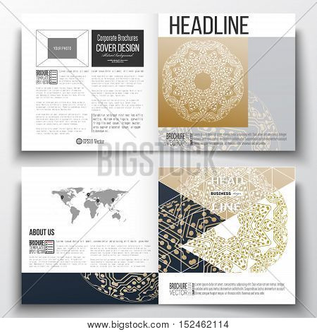 Set of square design brochure template. Golden microchip pattern, connecting dots and lines, connection structure. Digital scientific background.