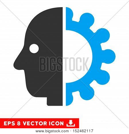 Cyborg Head EPS vector pictogram. Illustration style is flat iconic bicolor blue and gray symbol on white background.