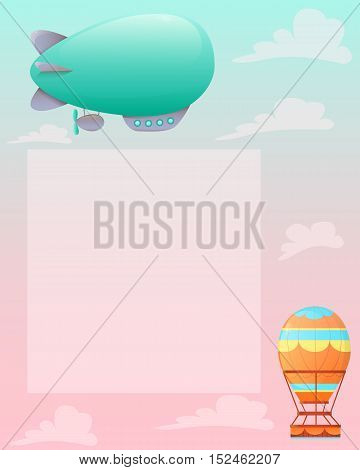 Romantic vintage background with aerostat and airships. Vector illustration